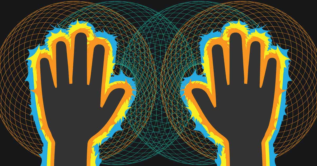 Vector illustration showing the electromagnetic field around human hands